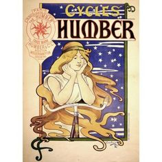 Advertising Humber Cycles Bicycles Bressler Henriette 1895 Canvas Art - (36 x 54)