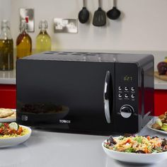 Tower Digital Solo Microwave with 5 Power Levels, 20 Litre, 800 W, Black Microwave Oven, Countertops, Home And Garden, Tower, Digital, Amazon, Black, Kitchen, Vanity Tops