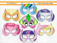 My Little Pony Masks-INSTANT DL,party masks,mask for girl,party,masks,birthday party,patterns,Spike,template printable,PDF,free gift от HolidayPartyHall, $8.95