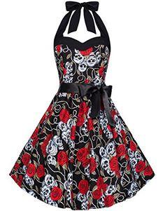 Zarlena Rockabilly Kleid Skull Roses Totenköpfe Rosen Navyblau 34-40 1012