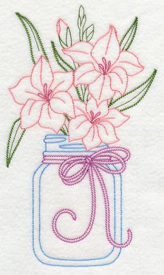 Blooming Gladiolus in Mason Jar (Vintage) design (L9407) from www.Emblibrary.com