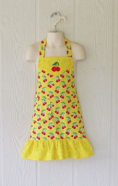 Girl's Cherry Apron Yellow Cherries Vintage Style by eclectiKIDS