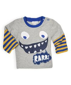 Loving this Cool Gray 'Rarr' Monster Layered Tee - Infant on #zulily! #zulilyfinds