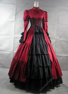 Steampunk Red and Black Dress