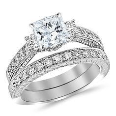 1.7 Carat GIA Certified Princess Cut Three Stone Vintage With Milgrain and Filigree Bridal Set with Wedding Band and Diamond Engagement Ring (E Color, VS1 Clarity) >>> Tried it! Love it! Click the image. : Jewelry Bridal Sets