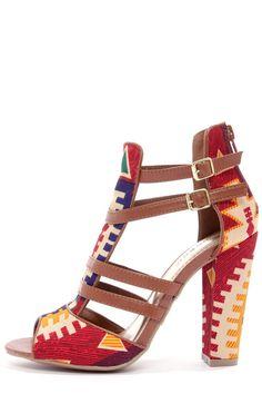 Multi Print Strappy Heels <3