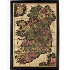 Vintage 1700 Map of Ireland