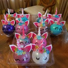 Unicorn ornaments for Gianna's party gifts
