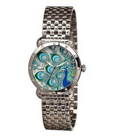 Silver Genevieve Mother-of-Pearl Peacock Bracelet Watch #zulily #zulilyfinds