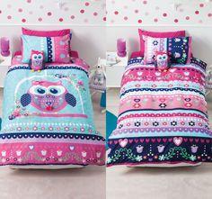 Pretty Owl Kids Duvet Set by Cubby House Kids Girls Duvet Covers, Kids Bed Linen, Owl Kids, Cubby Houses, Quilt Cover Sets, Duvet Sets, Cubbies, Girls Bedroom, Bedroom Ideas