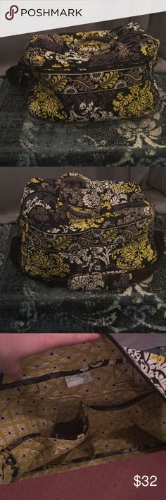 Vera Bradley Weekender Bag In good condition. Yellow black and grey. Strap cushion has some wear/coloration. Vera Bradley Bags