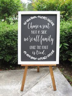 Choose a Seat Not a Side Sign, Rustic Wedding Sign, Ceremony Signs, Wedding…