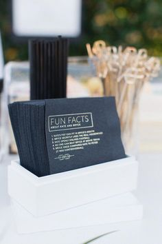 Love these custom printed cocktail napkins for a wedding bar featuring fun facts about the bride and groom Wedding Goals, Wedding Events, Our Wedding, Wedding Planning, Dream Wedding, Event Planning, Parker Palm Springs, Wedding Napkins, Wedding Wishes