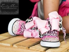 Converse PINK LEOPARD Bling Hitops in Size by PrincessSneakers