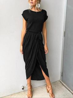 Black midi dress love this! Not with heels or earrings
