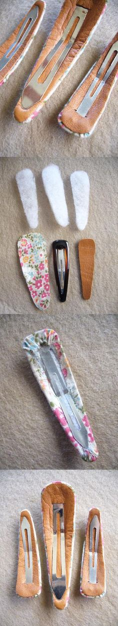 Fabric Covered Snap Hair Clips - great idea, a little too plain, I would add some beading ; Hair Ribbons, Diy Hair Bows, Ribbon Bows, Felt Hair Clips, Hair Barrettes, Hairbows, Diy Headband, Headbands, Diy Accessoires