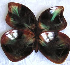 1 of 3: Large Butterfly Serving Dish - Canadian Ceramic Craft (CCC) - Flame Glaze