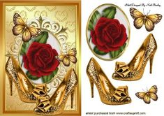 GOLD SPARKLE SHOES WITH RED ROSE on Craftsuprint - Add To Basket!