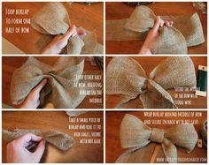 Crafts idea - Burlap Bows for florals and more. Making a beautiful bow tutorial. Could work well on wreaths, especially since I tend to have leftover ribbon Burlap Crafts, Burlap Bows, Ribbon Crafts, Wreaths Crafts, Burlap Chair Sashes, Burlap Garland, Chair Bows, Burlap Wreaths, How To Make Wreaths