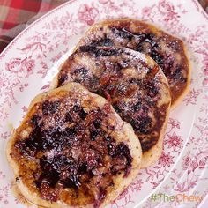 Blackberry - Brown Sugar Swirl Pancakes with Bacon Bourbon Maple Syrup by Mario Batali. #TheChew #Breakfast #Brunch