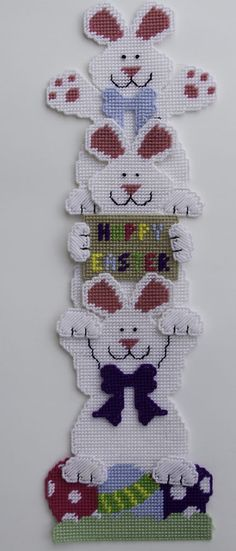 Easter Bunny Stack Wall Hanging-Happy Easter-Plastic Canvas Pattern or Kit #PlasticCanvasKitscom