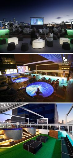 10 Incredible Hotel Rooftops From Around The World // 5. Not only does the Limes Hotel in Brisbane, Australia have a great rooftop bar, it's also got a rooftop cinema!