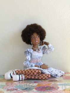 "OOAK Chauncey 22"" Tall Slim Lady Art Doll Ethnic Cloth BJD Size by Gayle Wray 