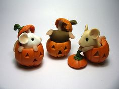 Pumpkin Mice by QuernusCrafts  porcelana fria pasta francesa masa flexible fimo fondant figurine modelado topper polymer clay