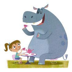 #MichaelRobertson #illustration #children #whimsical #teatime #hippo #hippopotamus #lindgrensmith