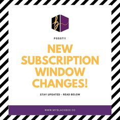 We've changed our subscription window timeframe. You now only have until the 15th of every month to subscribe for the next month's blackbox.  So for our June box you must subscribe by May 15th in order to ensure you'll receive it during the first week of June. Otherwise if you subscribe after May 15th you'll receive our July box by it's scheduled delivery date.  We make sure to share updates with our email list before we make announcements here - sign up for our emails today (link in bio)…