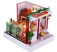 DIY Dollhouse Pizza shop Miniature kit Handcraft Kit by UniTime