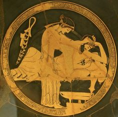 A hetaera attends to a vomiting drunk participant of a Greek symposium (drinking party), Attic red-figure kylix by Duris (Interior). From Vulci. 490-480 BC, Musei Vaticani, Rome.