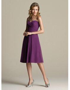 Cheap Chiffon Sweetheart Purple Knee Length A-line Bridesmaid Dress Online