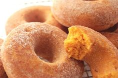 Homemade baked pumpkin cinnamon donuts.