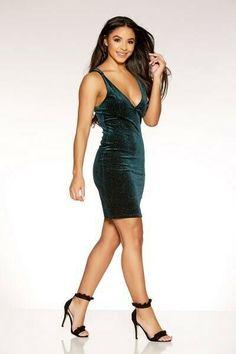 2af1122f6486 Quiz Clothing - Plunge Emerald Green Glitter Velvet Bodycon Dress Uk 6 New # fashion #