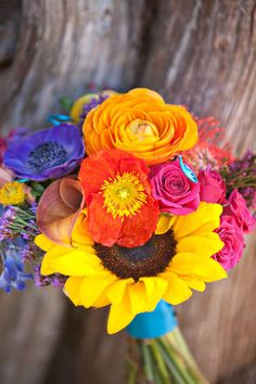 Carroll & Dan's Detail-Heavy, Day of the Dead Plantation Wedding, bright flowers