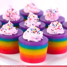 Double Rainbow Cake Jelly Shots recipe @ http://www.tablespoon.com ...