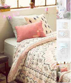Light pink and blue bedding for my room!