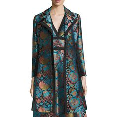 Etro Floral Brocade A-Line Coat (210,475 INR) ❤ liked on Polyvore featuring outerwear, coats, blu blk turq flrl, a line coat, floral coat, etro coat, floral print coat and etro