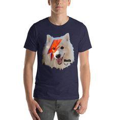 Bowie Dog Short-Sleeve Unisex T-Shirt Designer Wear, Bowie, Fabric Weights, Elephant, Unisex, Hoodies, Dog, Cats, Sleeve