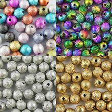 Mixed/Silver/Gold/Rainbow Stardust Acrylic Round Ball Spacer Beads Charms Findings 4/6/8/10/12/20mm For Jewelry Making Craft DIY(China (Mainland))