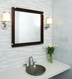 Bathroom, : Contemporary Bathroom Decoration Design Ideas With Round Grey Granite Bathroom Sink Along With White Glass Tile Bathroom Wall And White Wall Bathroom Vanity Small Bathroom Tiles, Bathroom Tile Designs, Bathroom Wall, Bathroom Ideas, Small Bathrooms, Bathroom Images, Simple Bathroom, Tiled Bathrooms, Granite Bathroom
