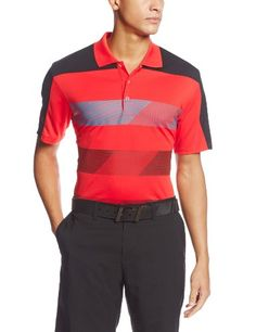 adidas Golf Mens Climachill Stripe Block Polo HiRes RedSolar BlueBlack Large -- Be sure to check out this awesome product.
