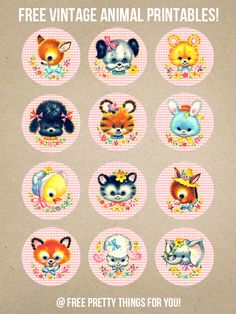 Adorable Kitschy Baby Animal Printables - Pink Version! - Free Pretty Things For You