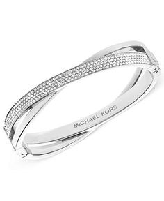 Michael Kors Bracelet, Silver-Tone Pave Criss-Cross Bracelet - Fashion Jewelry - Jewelry & Watches - Macy's