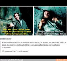 X a A i Well, well, Sirius. À madness withinfwouldn't You Remus? is still my favorite scene remus just lowers his wand and looks at sirius like you fucking kidding you're going to make a werewo Harry Potter Jokes, Harry Potter Fandom, Harry Potter World, Johnlock, Destiel, Yer A Wizard Harry, Wolfstar, Remus Lupin, Remus And Sirius