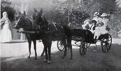 """Margaretta Eagar with another nanny in a horse drawned carriage with Grand Duchess Olga Nikolaevna Romanova of Russia,Princess Elisabeth of Hesse (Darmstadt) and by Rhine and Grand Duchess Tatiana Nikolaevna Romanova of Russia,ca. 1900.  """"AL"""""""