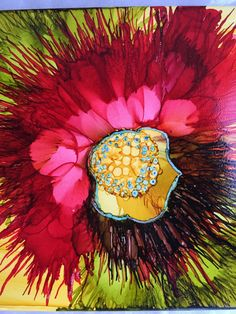 Flowerscaping on tile using Alcohol Inks. My creativity blooms painting with Alcohol Ink.