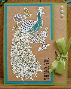 Peacock Thank You by NaomiW - Cards and Paper Crafts at Splitcoaststampers