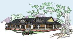 Ranch Style House Plans - 2415 Square Foot Home , 1 Story, 4 Bedroom and 3 Bath, 2 Garage Stalls by Monster House Plans - Plan 33-281